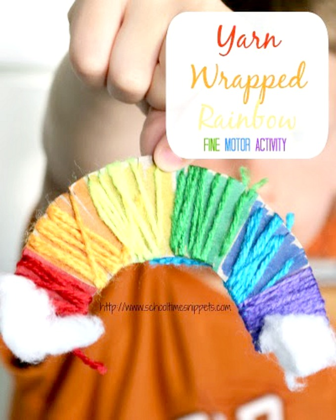 yarn wrapped rainbow art and craft
