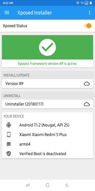 Module Exposed Redmi 5 Plus aktif