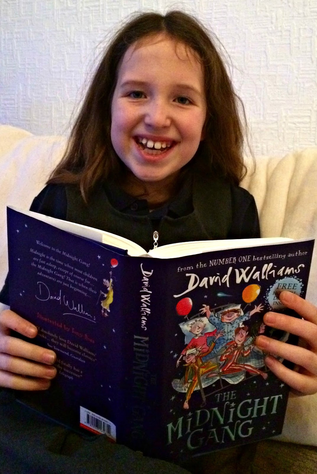 Caitlin reading David Walliams' The Midnight Gang