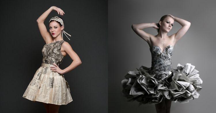 9 Gaun indah terbuat dari surat kabar bekas , keren Abis
