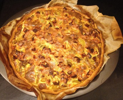 Zucchini and bacon fondue pie
