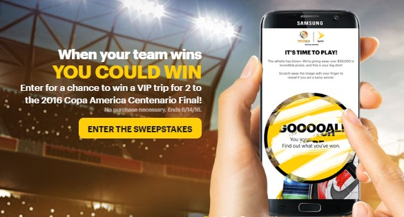 Sprint is giving soccer fans a chance to enter daily to win a VIP trip to attend the Copa America Centenario Final in NYC or one of their cool soccer related instant win prizes!