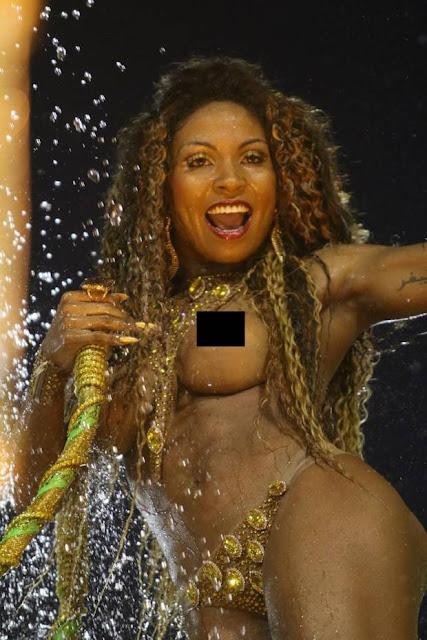 Tuane Rocha, evangélica desfilando no Carnaval.