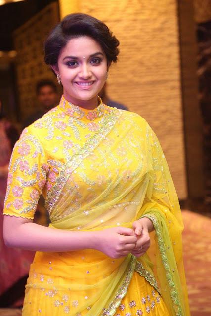 Keerthi Suresh in Transparent Yellow Saree