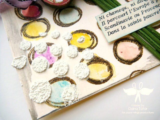 How to Embellish a Tag with Stamps, Gelatos, and Texture Paste by Dana Tatar