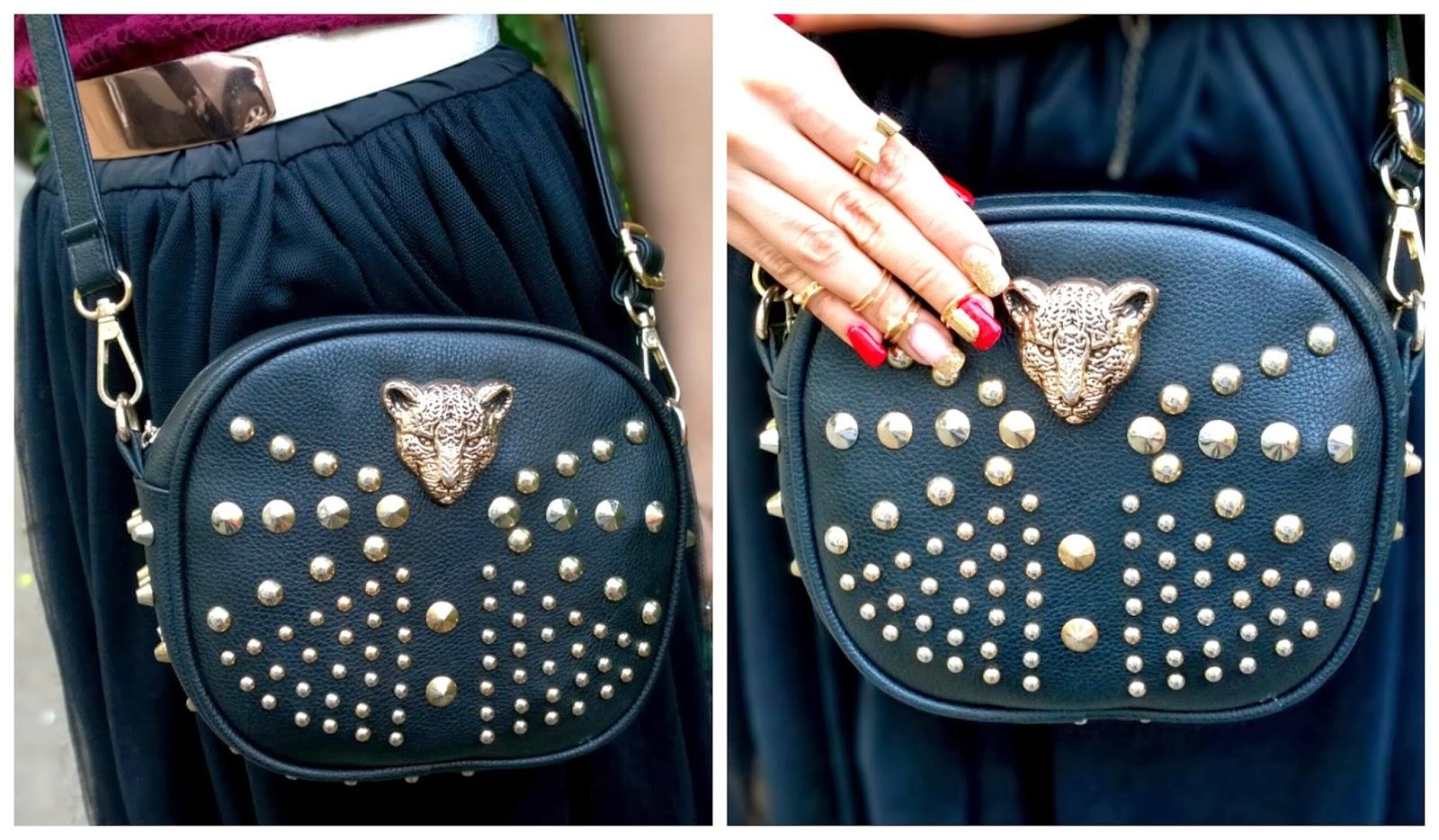 Leopard Rivets Handbag
