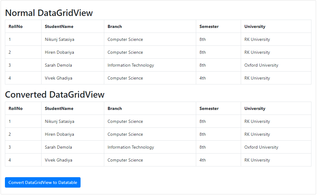 Convert Gridview To Datatable