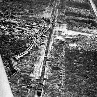 1935 photo shows rescue train that was pushed off its track in the 1935 Labor Day Hurricane