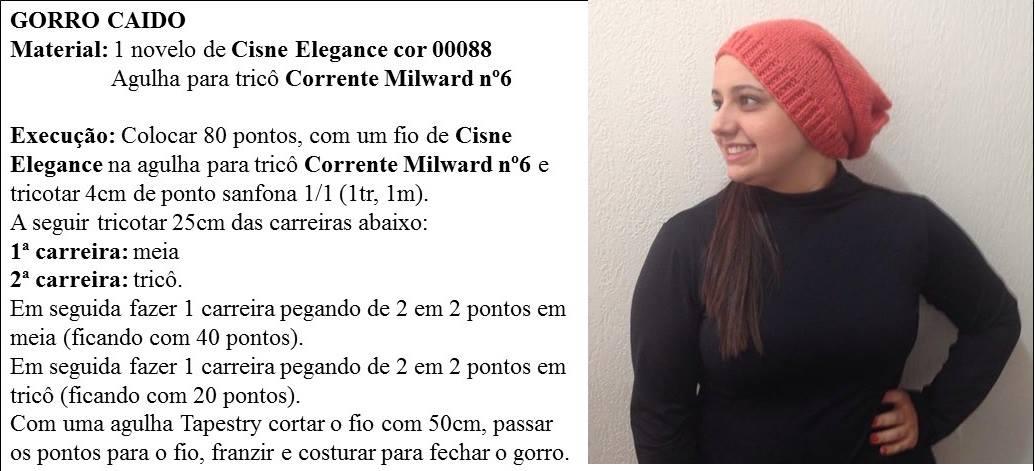 24e0091d64646 Receita de Tricô  Gorro caído em tricô receita de Vitória Quintal