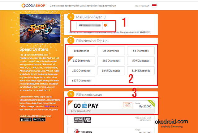 Langkah-langkah Top Up Pembayaran GO-PAY di Codashop game Garena Speed Drifters
