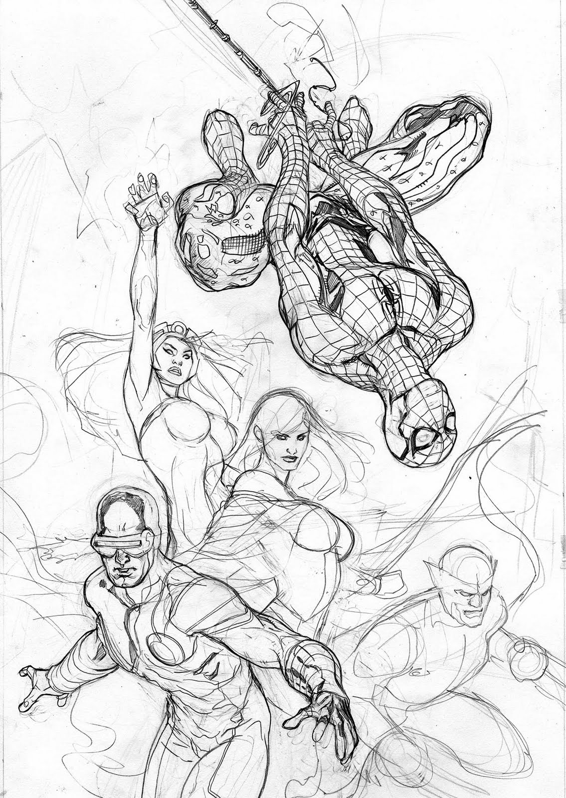 The Bombshellter: X-Men #7 Cover Step By Step 1