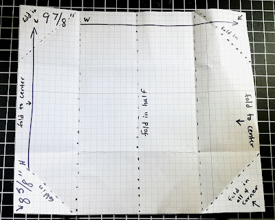 Measurements and a visual of the folds for the gift card holder at Inkheaven