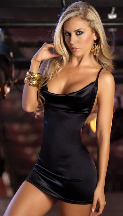 fully legal - Black Satin Backless Clubwear Mini Dress
