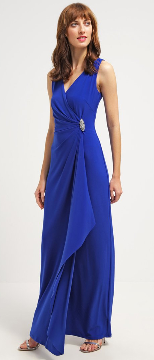 Robe longue de cocktail bleue Lauren Ralph Lauren
