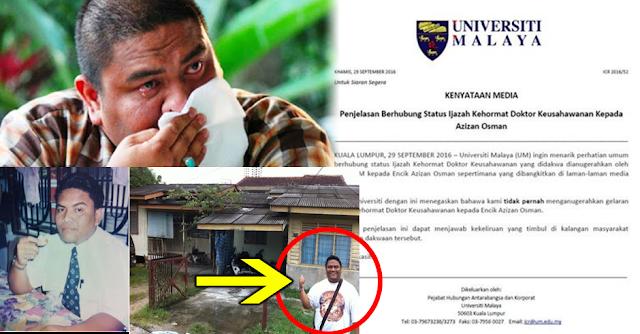 TERKINI ! Universiti Malaya BONGKAR Penipuan Dr. Azizan ! Memang TAK SANGKA Dia Sanggup Buat Macam Ni !
