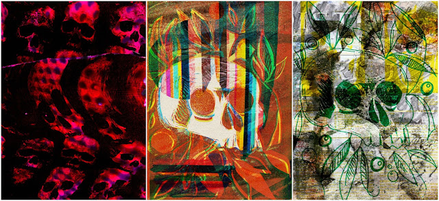whoopidooings blog: Carmen Wing: Mixed Media postcards themed around death, skulls, environmentally friendly burials etc