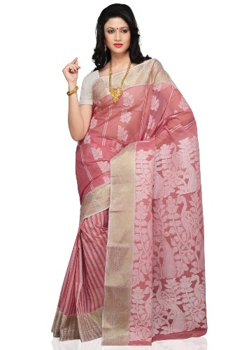 Pink And White Pastel Tant Saree