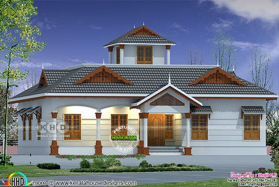 2200 square feet sloped roof traditional house plan