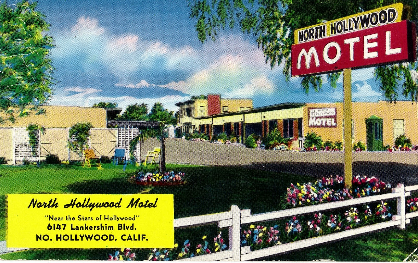 Hollywood Motel Celebrity Homes North Hollywood Motel Postcard