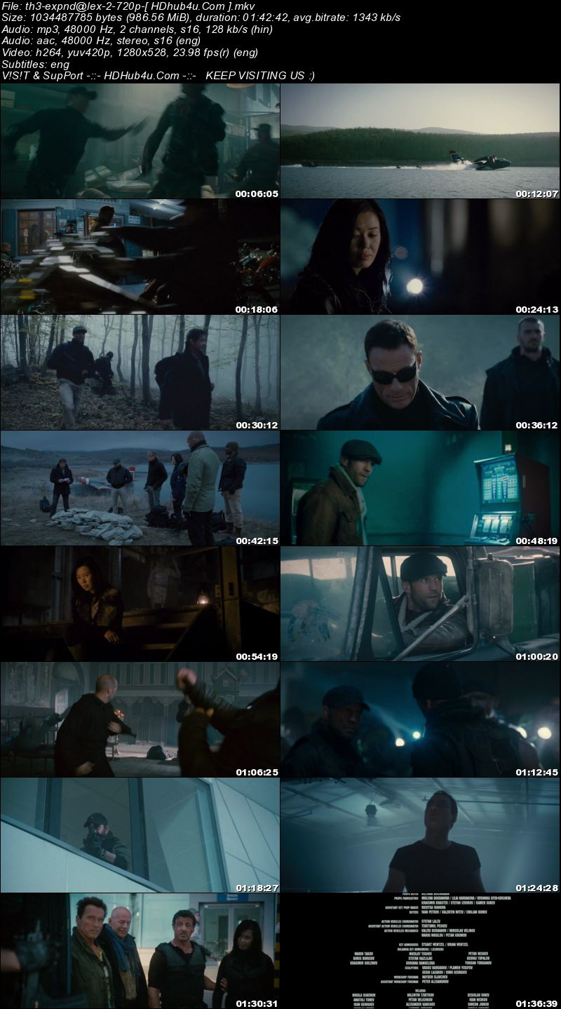 The Expendables 2 (2012) Hindi Dual Audio 720p BluRay Esubs 950mb Download