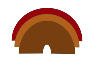 Three block arc layers with brownish colors layers on top of each other