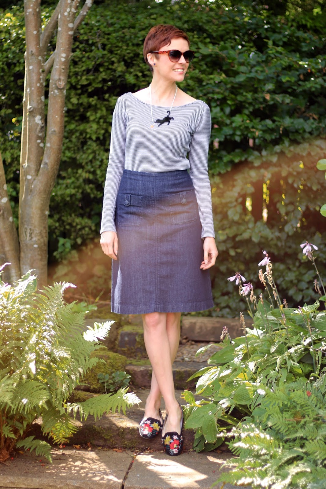 Denim A-line Skirt, embroidered shoes & Breton Stripes | Fake Fabulous