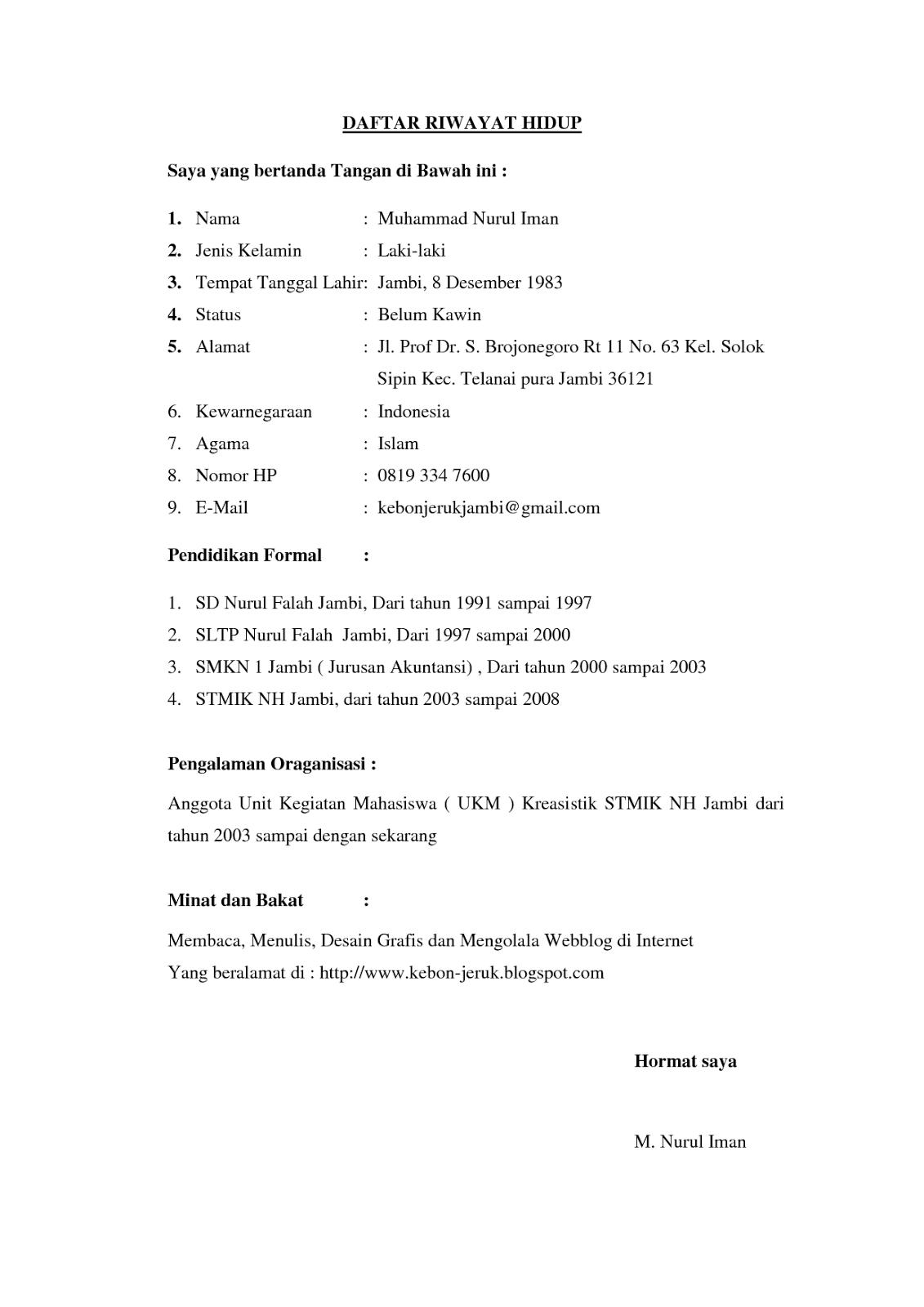 Format Daftar Riwayat Hidup Terbaru Cv Nabila