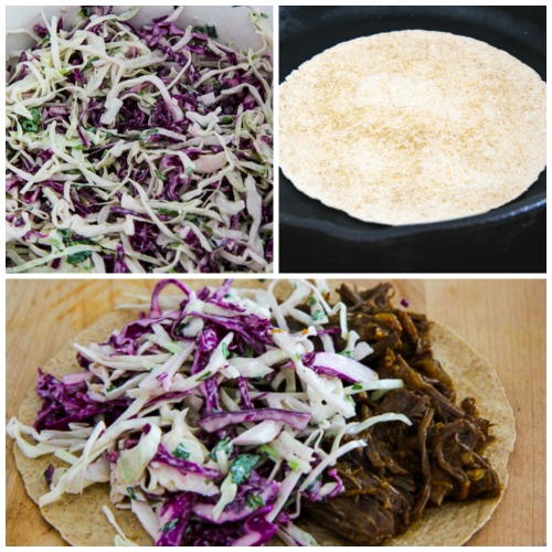 Pressure Cooker Low-Carb Flank Steak Tacos with Spicy Mexican Slaw found on KalynsKitchen.com