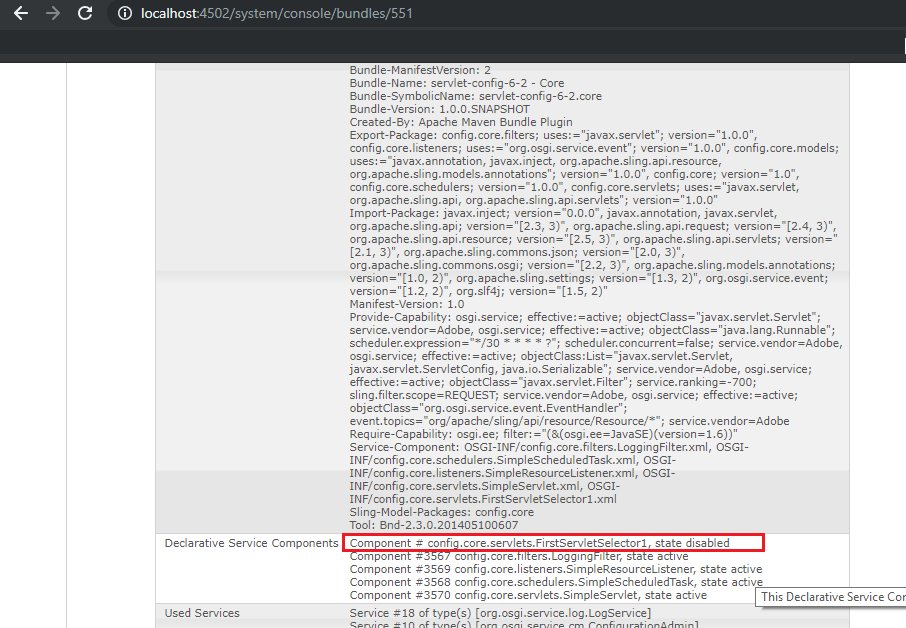 The Servlet status is disabled in AEM(Adobe Experience