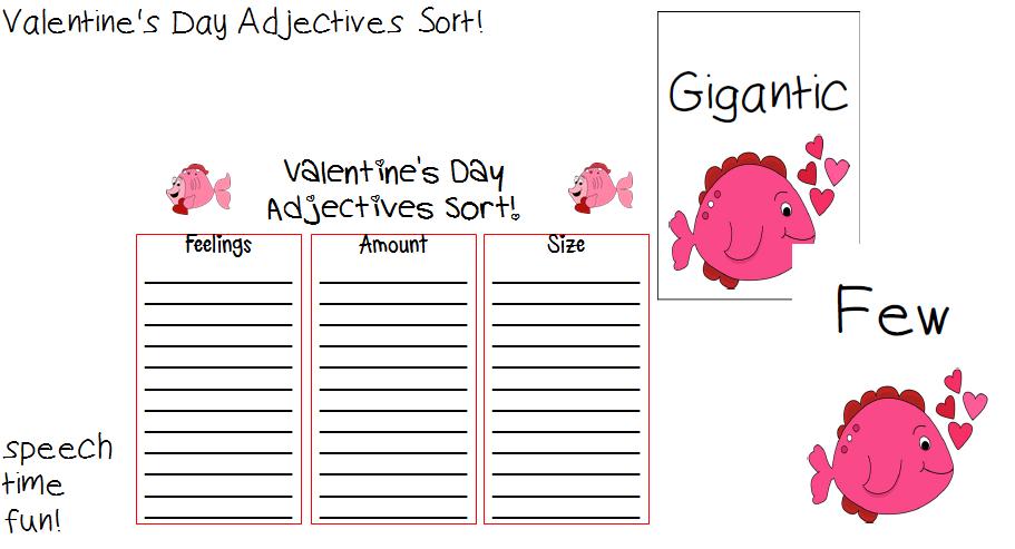 speechie freebies valentine 39 s day adjectives sort. Black Bedroom Furniture Sets. Home Design Ideas