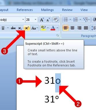Cara  Praktis  Membuat Derajat di Ms Word dengan Fungsi tombol  X²