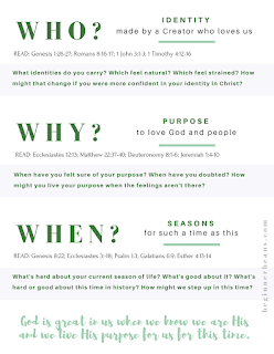 Free printable Bible texts and discussion questions about our identity and purpose through all of life's seasons.