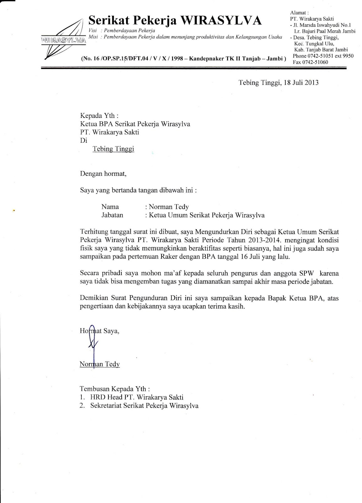 Contoh Surat Balasan Pengunduran Diri Dari Organisasi ...