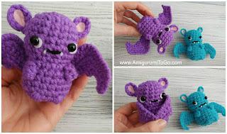 crochet bat purple and blue