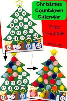 Calendario de árbol de navidad con pompones