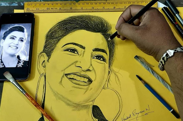 Venkat Shyam N - Samantha Akkineni Portrait Sketch Art Painting in Hyderabad