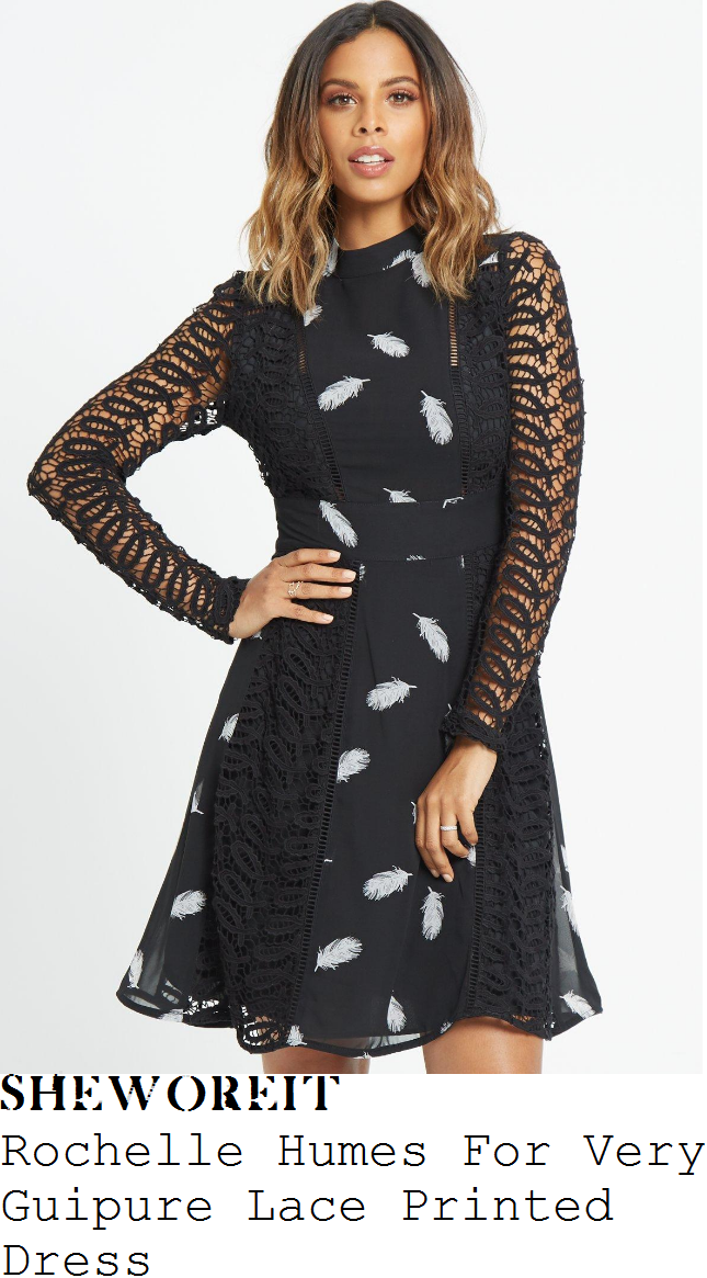 rochelle-humes-rochelle-humes-for-very-black-and-white-monochrome-feather-print-long-sheer-sleeve-guipure-lace-panel-detail-high-waisted-a-line-dress