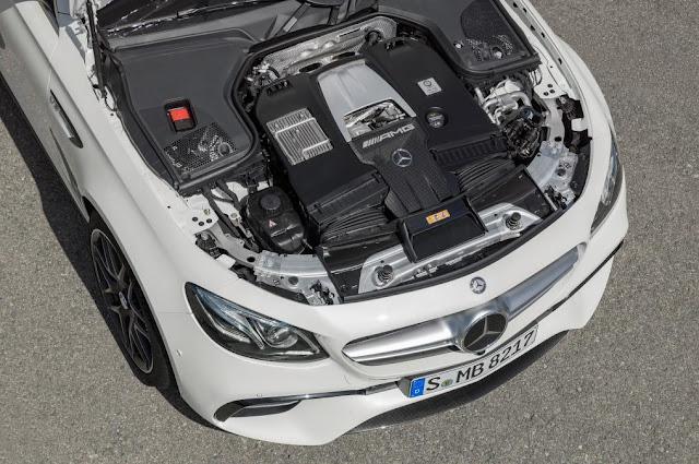 2017 Mercedes AMG E-63 Estate twin-turbo V8 engine view