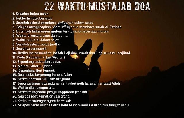 22 Waktu Mustajab Doa