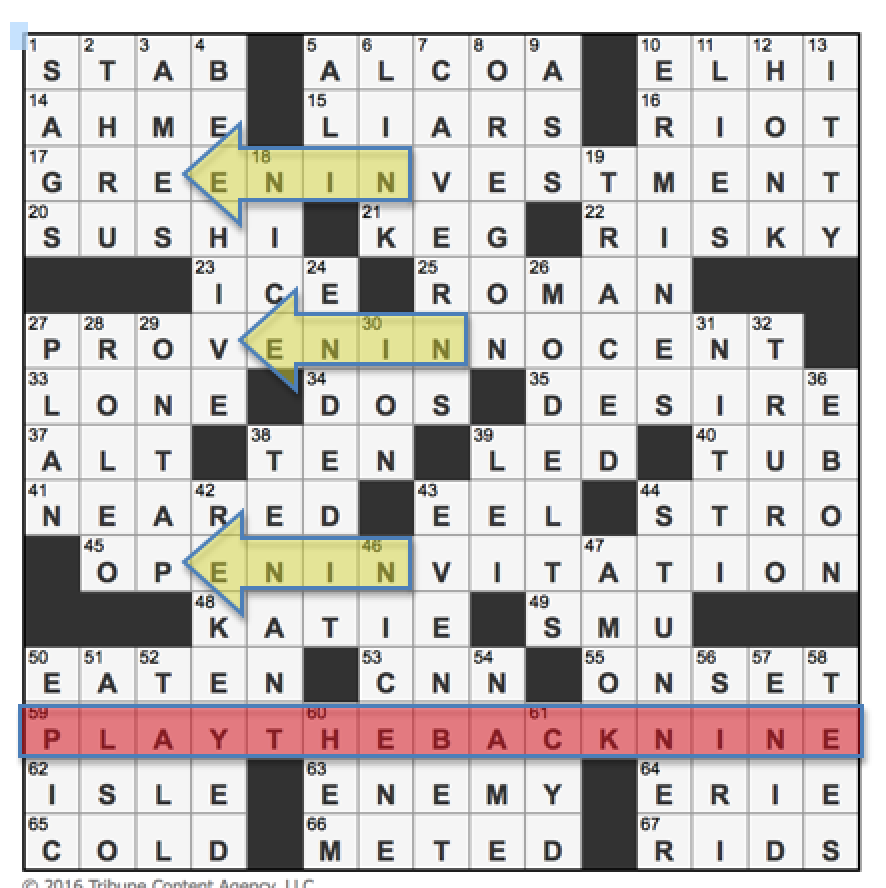 Latimes crossword corner wednesday november 30 2016 gail gail and bruce have given us this theme by not only hiding the word nine but spelling it backwards in three long fills as you can see in the grid below kristyandbryce Choice Image