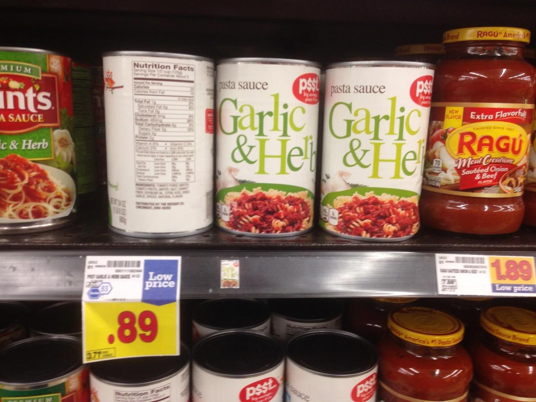 Healthy grocery garlic herb pasta sauce 24 oz psst for Fish sauce kroger