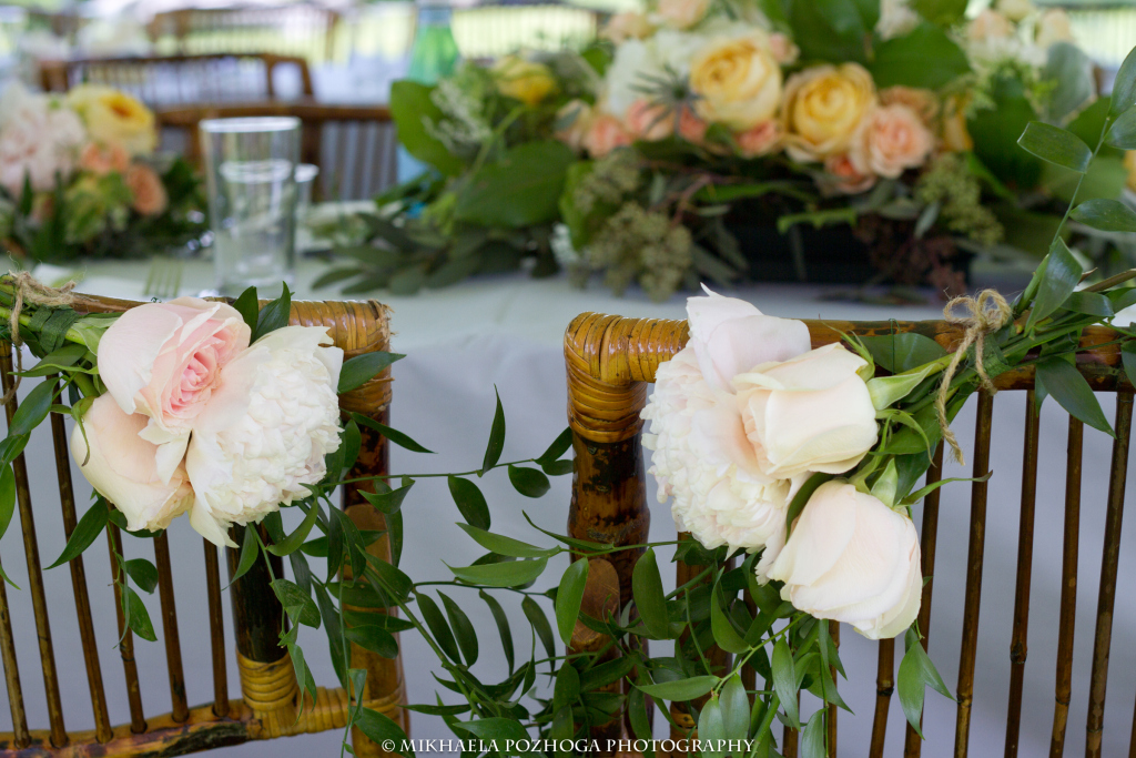 Table Centerpieces Were Made Of Seeded Eucalyptus Salal Leaves Queen Annes Lace Champagne Garden Roses Peach Spray Thistle White Hydrangea