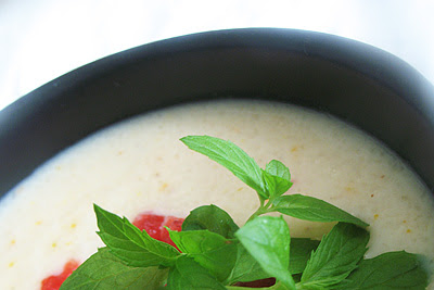 Pear Soup with Raspberry Sorbet