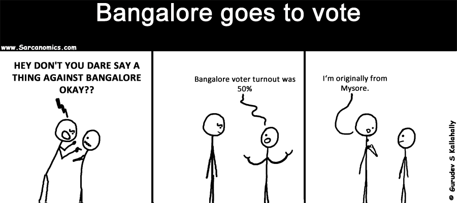 Bangalore, election day, voter turn out, 50%, comics, webcomics, sarcanomics