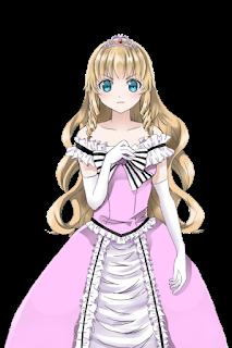 不機嫌な縦巻きロールでドレスを着た姫の立ち絵フリー素材