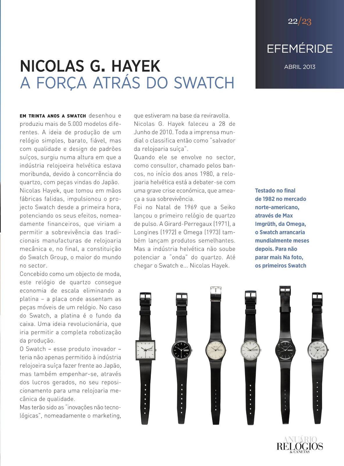 d9354c74e36 Estação Cronográfica  Os 30 anos do Swatch no Relógios   Canetas ...