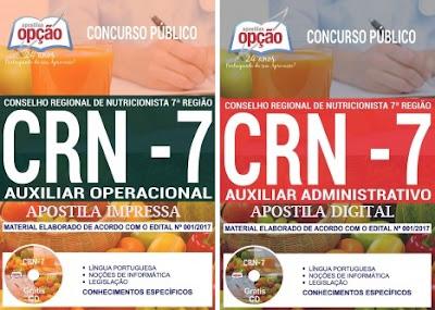 Apostila Concurso CRN-7 - Conselho Regional de Nutricionista 7ª Região 2018 Auxiliar Administrativo.