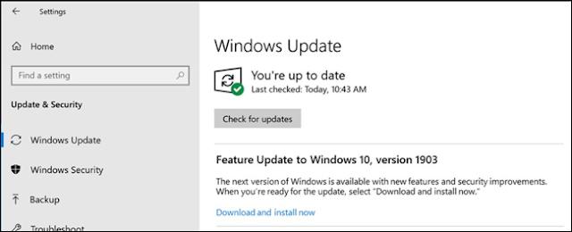 خيار لتثبيت تحديث الميزة في Windows Update