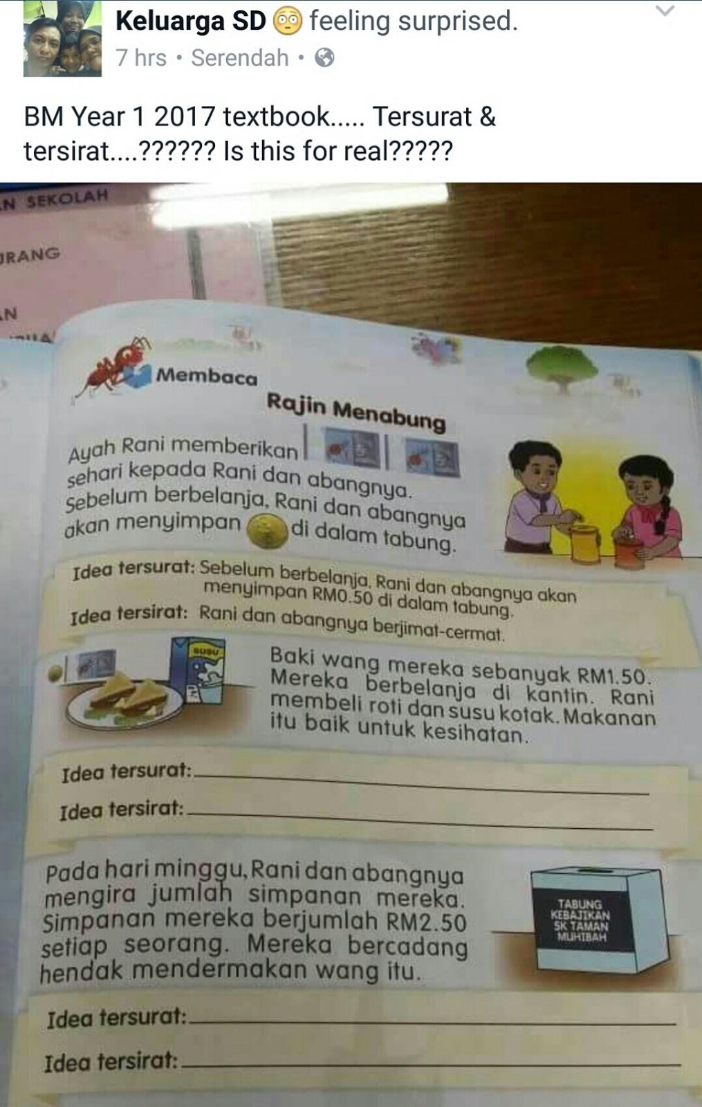 Elemen Kbat Dalam Buku Teks Tahun 1 Cetus Kerisauan Ibu Bapa Guru Kumpulin Soal