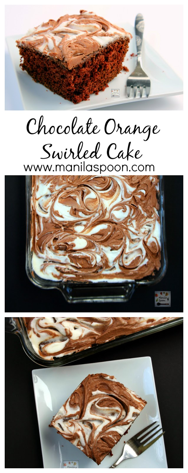 Moist and delicious chocolate cake flavored with fresh orange juice and zest and jazzed up with a swirled frosting - Chocolate Orange Swirled Cake #chocolateorangecake #chocolatecake #chocolatemarblecake #cake